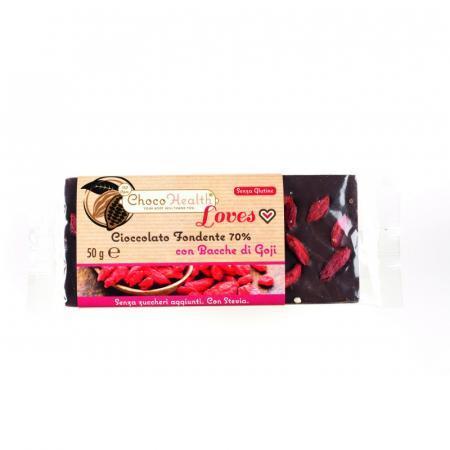 Cioccolato Fondente 70% con le proprietà delle bacche di Goji