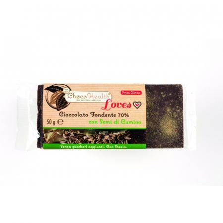Choco Health Loves; cioccolato Fondente 70% con Semi di Cumino