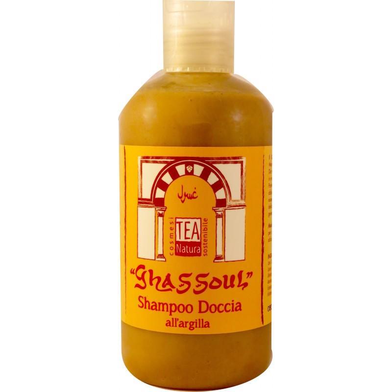 Shampoo Doccia al Ghassoul sgrassa senza impoverire, seccare il capello