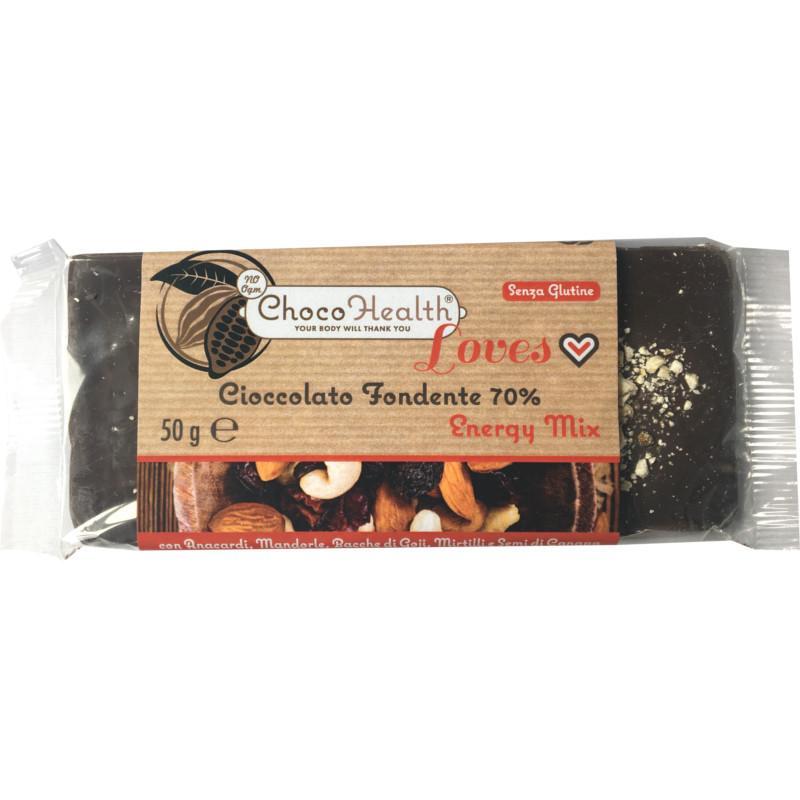 energy mix cioccolato fondente con goji semi di canapa e mandorle