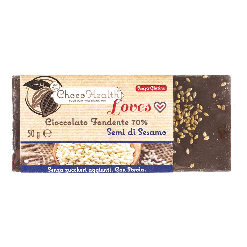 cioccolato fondente con semi di sesamo Choco Health