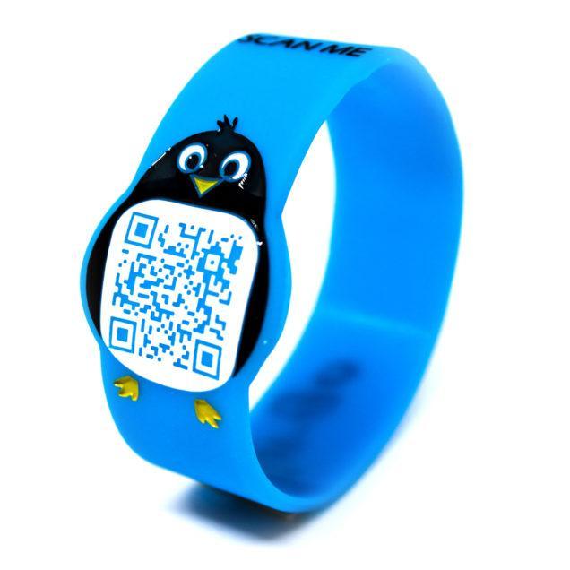 Pin-Go Braccialetto per bambini anti smarrimento con QR Code azzurro