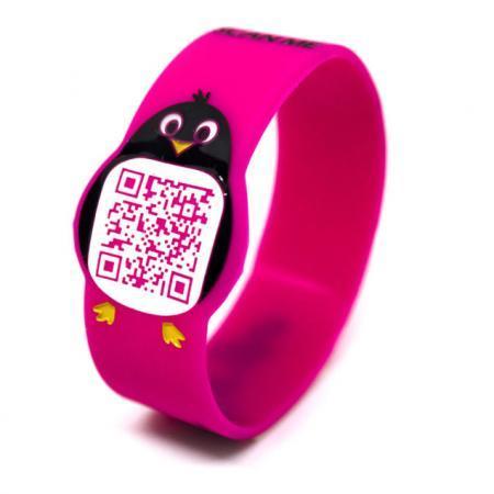 Pin-Go Braccialetto per bambini anti smarrimento con QR Code rosa