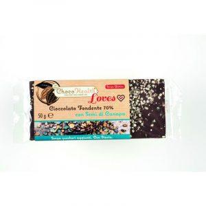 Cioccolato Fondente 70% con Semi di Canapa