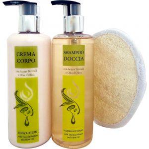 Set Shampoo Doccia, Crema Corpo, Spugnetta Scrub
