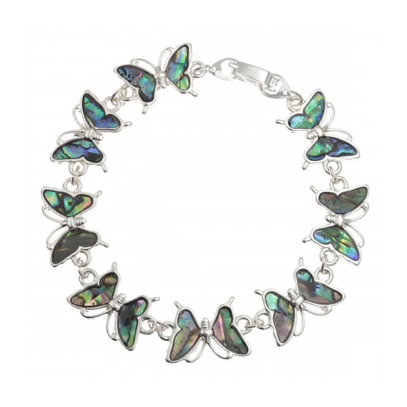 Conchiglia di Paua naturale bracciale farfalle
