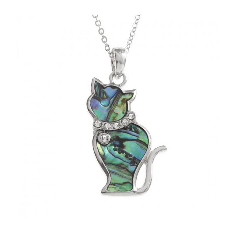 Collana gatto con conchiglia di Paua naturale