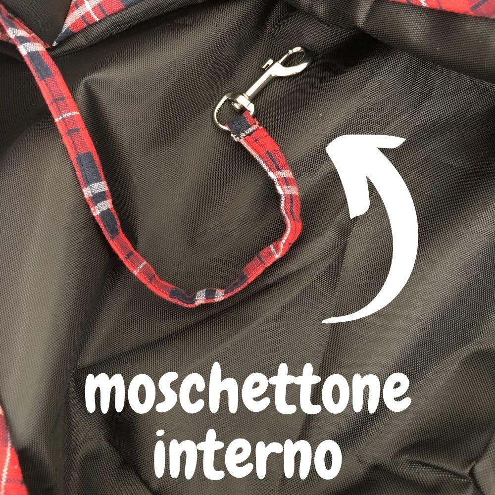 moschettone interno borsa a spalla trasporto cani