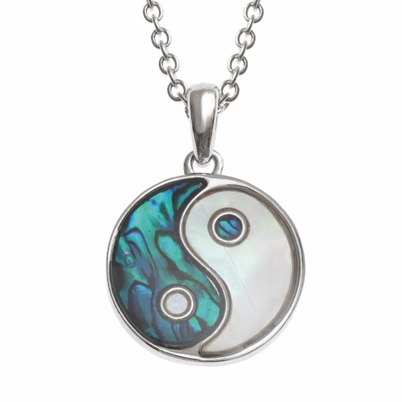 Collana Yin Yang in conchiglia di Paua blu e Madreperla