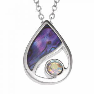 Collana in conchihlia di Paua viola e cristallo