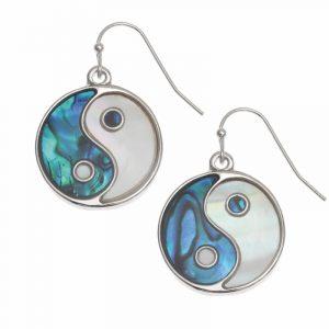 orecchini Yin e Yang conchiglia di Paua blu e Madreperla