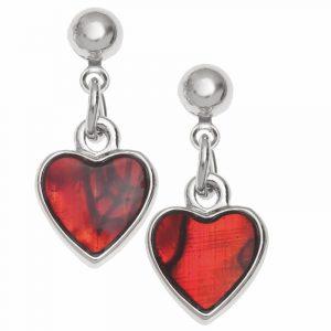 coppia di orechini in conchiglia di Paua rossa con perno