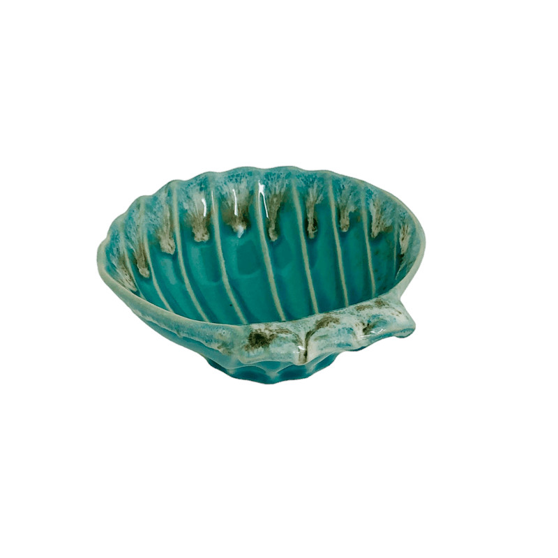portasapone conchiglia in ceramica azzurro