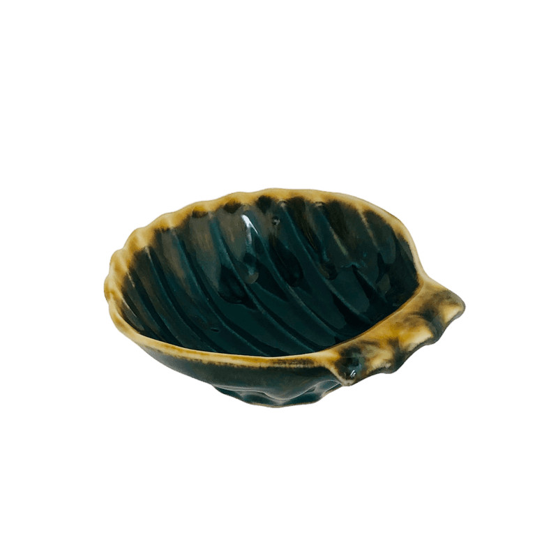 Portasapone conchiglia in ceramica grigio e oro