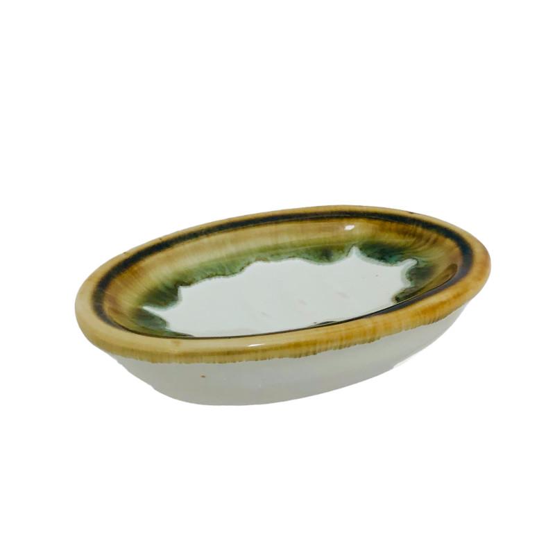 portasapone in ceramica bianco e oro
